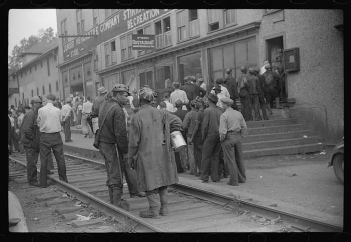 2. This scene showing coal miners arriving on payday in Omar in 1938.