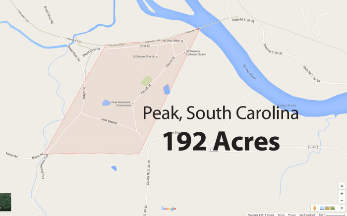 It's also nearly the smallest in land mass. The town is only .3 square miles. There are 640 acres in a square mile so this means the town of Peak is a mere 192 acres.