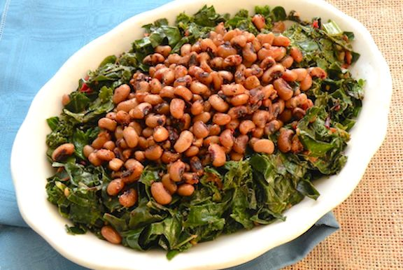 1. Greens and black eyed peas.