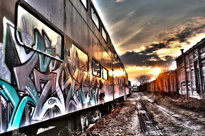9. Train car exterior, Boone