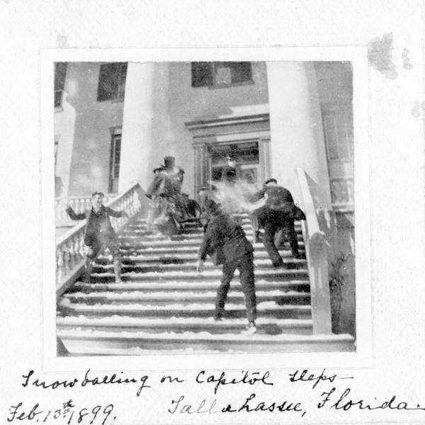 Snowball fight on the steps of the capitol in Tallahassee