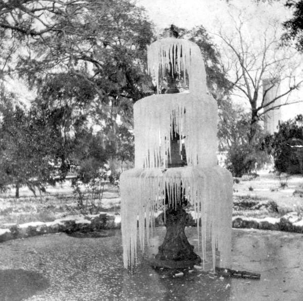 Frozen fountain in capitol grounds