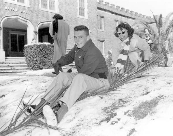 Florida State University students enjoying a day of snow