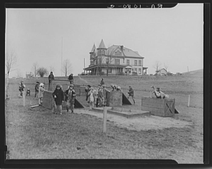 2. Here, some school children play in Reedsville.
