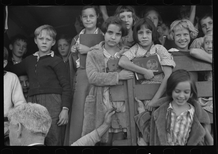 13. Here are some kids posing for a picture at a school in Red House, 1935.