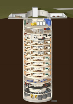 A computer generated view of the entire condominium, which is housed inside an old missile silo.