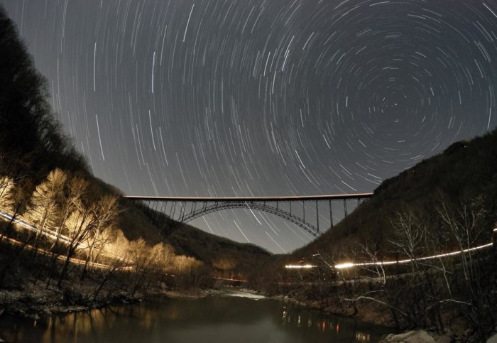 12. This shot of star trails at the New River Gorge Bridge