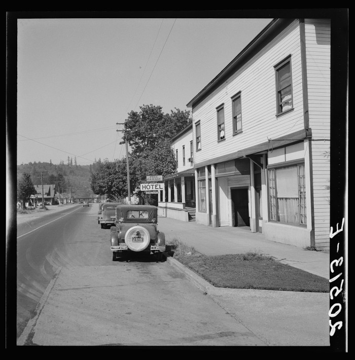 11. Leaving the town of Tenino on U.S. 99, circa 1939.