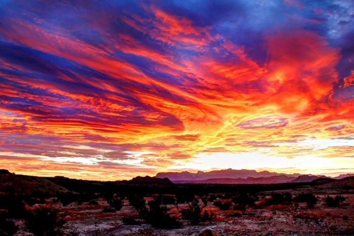 2. Thanks to Clark Thompson for this breathtaking sunrise over the mountains in Terlingua.