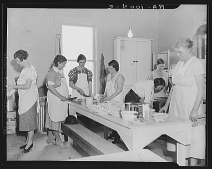 15. Here are women volunteers making lunch at a school in Reedsville.