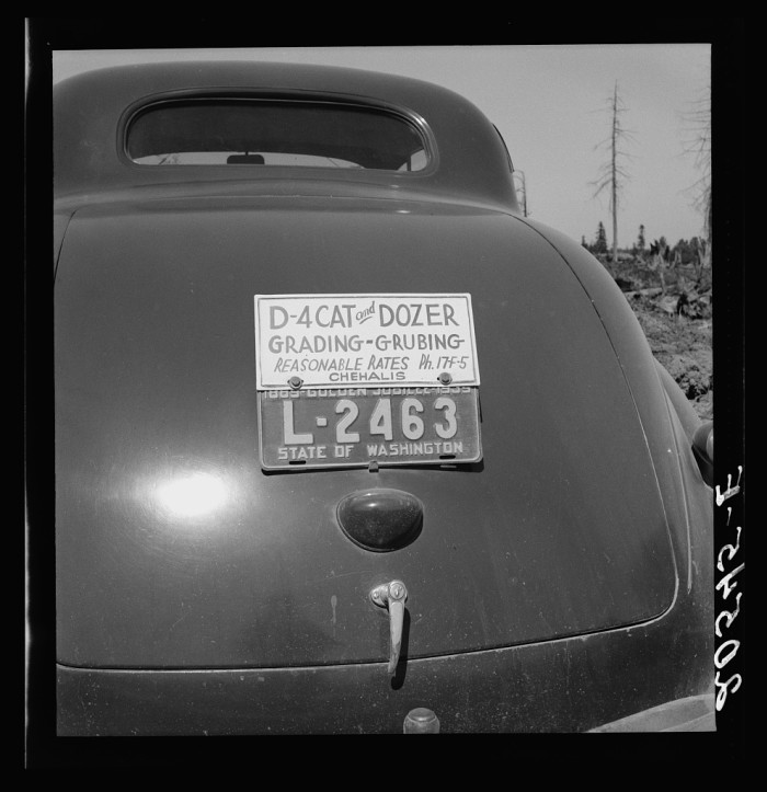 2. Here was the back of a bulldozer contractor's car in August 1939.