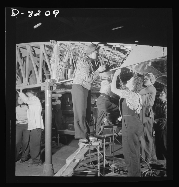 13. Women working at the Seattle plant on a new B-17.
