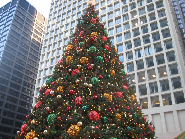 3. Large Christmas trees abound.