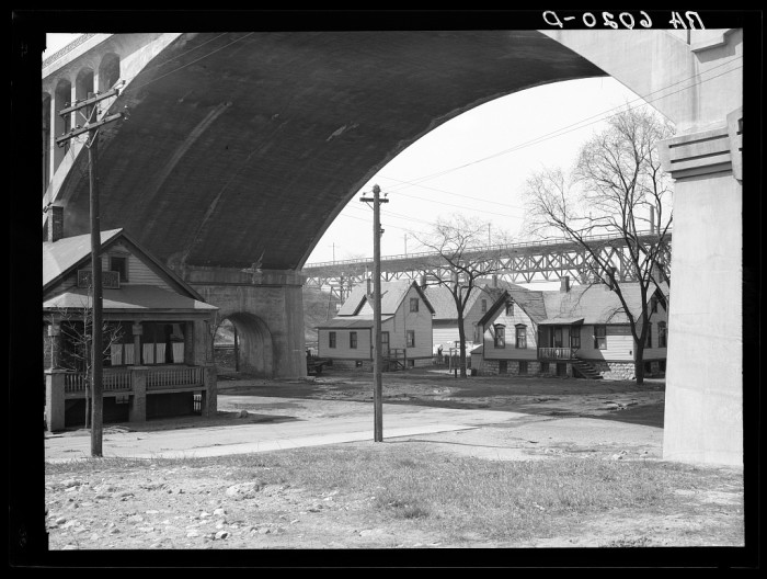 8. These houses were under the Wisconsin Avenue viaduct in Milwaukee in 1936.