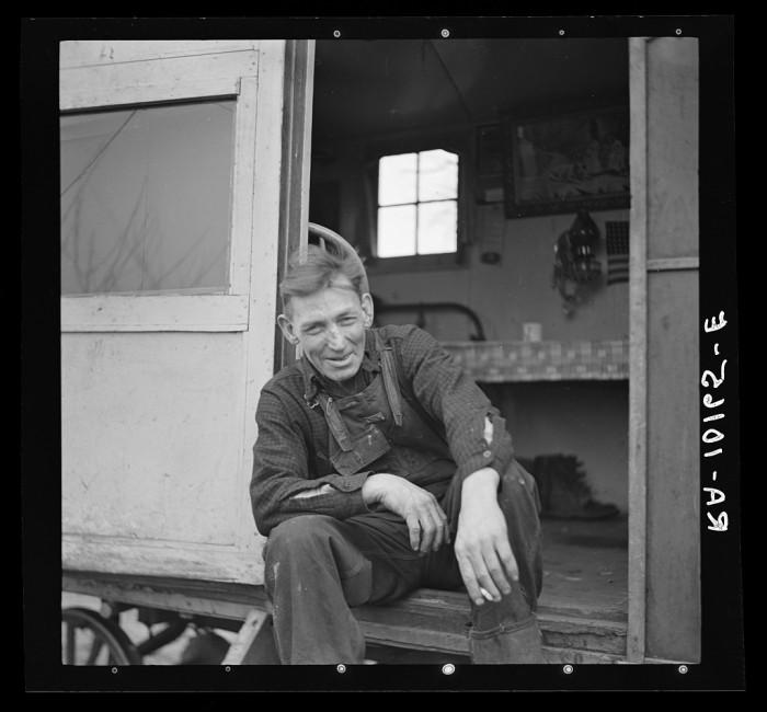 4. A drunken fisherman hangs out in his trailer in Ottawa in 1937.