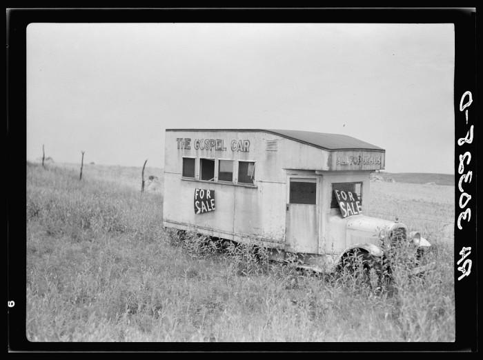 5. This gospel car is abandoned in Kewanee in 1937.