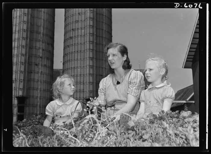 6. This mother and children hang out on a farm in De Kalb in 1942.