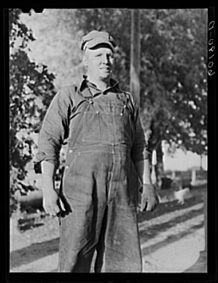 7. A proud farmer takes a break from work in Grant in 1939.