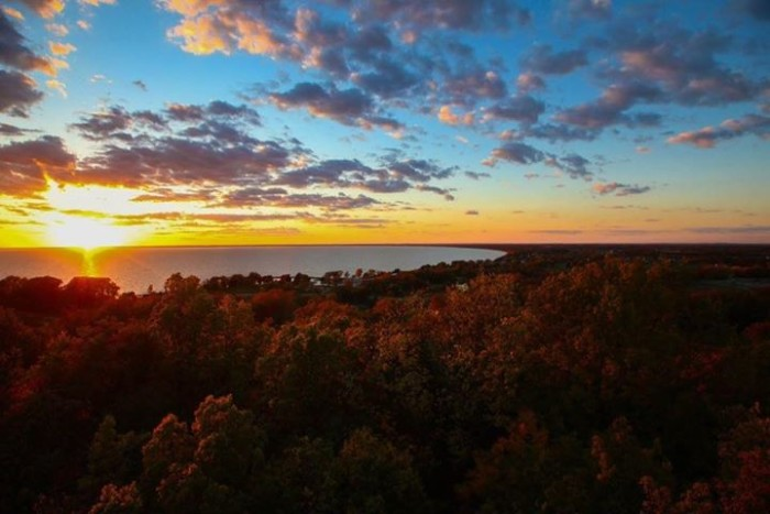 1. Lawrence captured a gorgeous, classic Wisconsin fall sunset at Lake Winnebago.