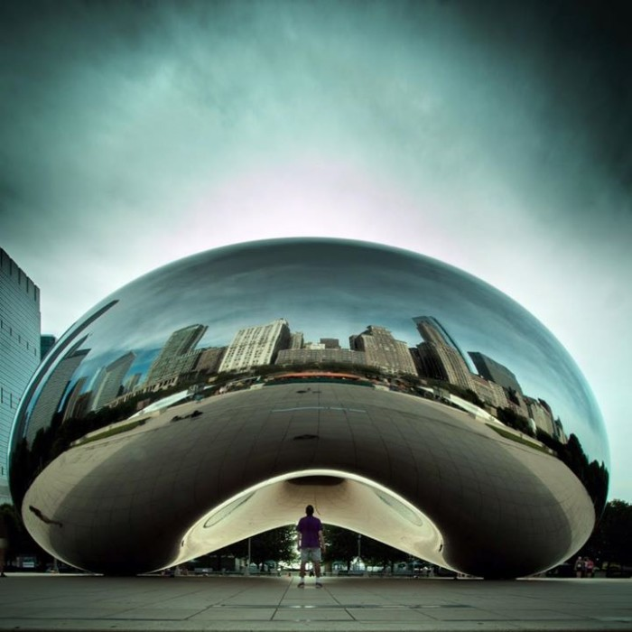 2. There are so many awesome shots of Cloud Gate, but this one of just a lone man is too cool.
