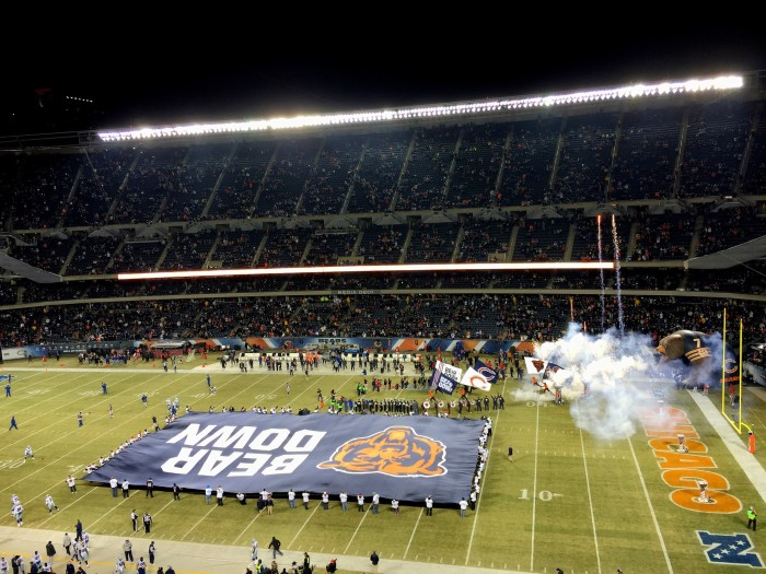 11. BEAR DOWN at Soldier Field.