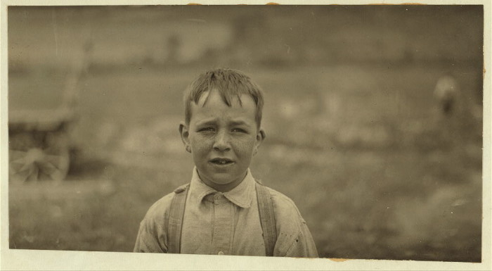 14. Eight-year old Jack on a Western Massachusetts farm. Child workers were common in many rural districts.