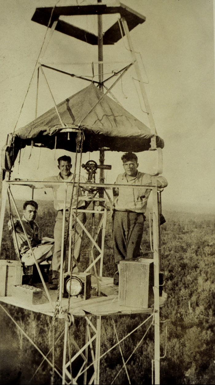 """1.""""O"""" party on 103' tower.  Triangulation party of Captain Carl Aslakson, Ozark Mountains."""