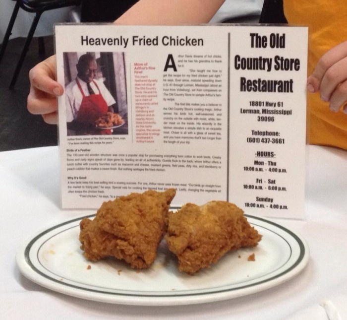 10. Try some of the best fried chicken around at Lorman's Old Country Store restaurant.