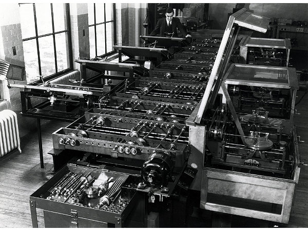 "11. In 1928, the first computer, a non-electronic ""differential analyzer,"" was developed by Dr. Vannevar Bush of M.I.T. in Cambridge. Six integrators and several input and output tables had to be meticulously connected to produce the solution to each new problem."