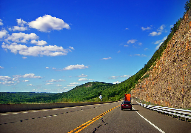 8. Road trips through the Appalachian Mountains are dramatic and beautiful. Pictured is US Route 6 going through Bradford County.