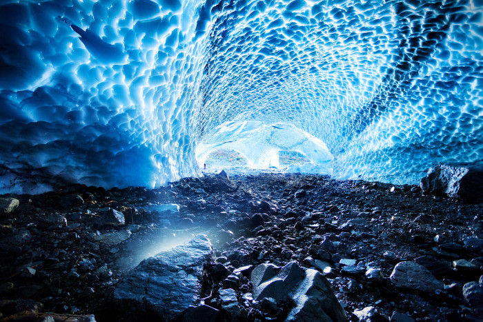 11) Forget a glacier proposal, how about popping the question below in one of the crystal blue tunnels of Alaska's many ice caves?