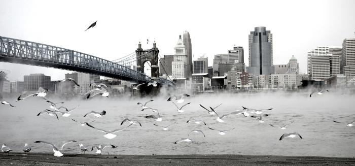 12. A frosty Ohio River in Cincinnati