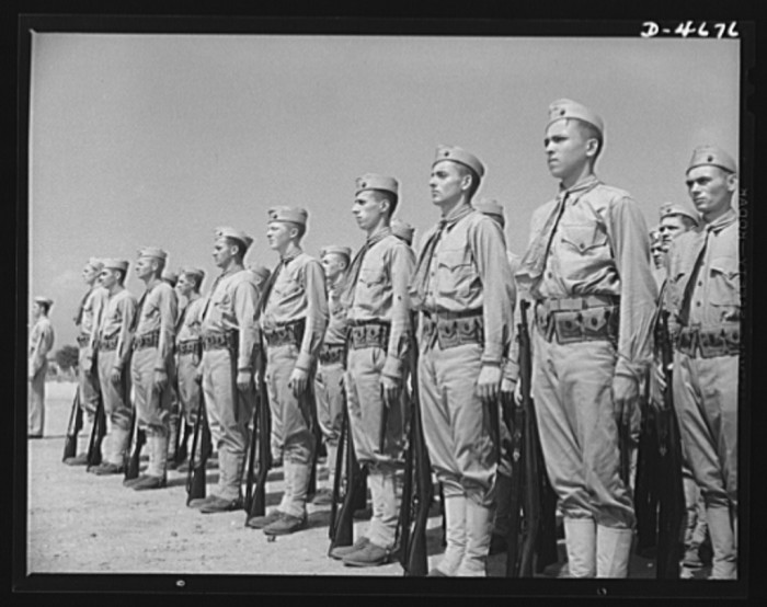11. Marines finishing training at Parris Island in 1942.