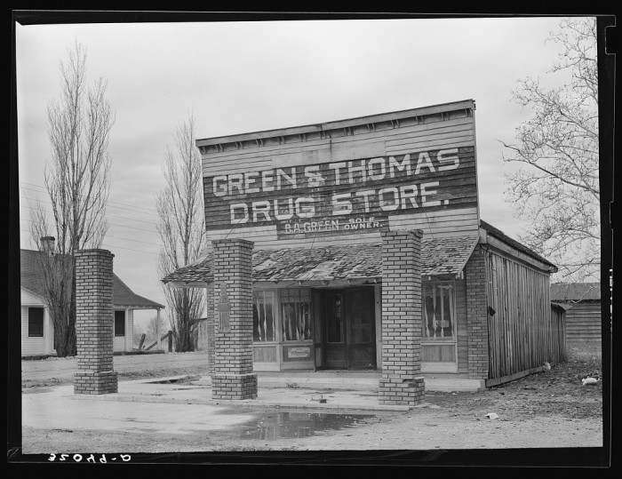 12. Drugstores were a common stop for residents of the time. This particular store was located in Mound Bayou.