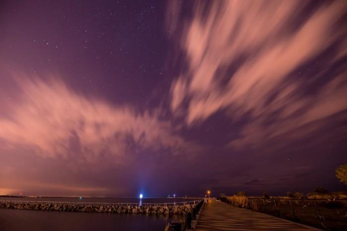 6. Lorain's mile-long pier at night