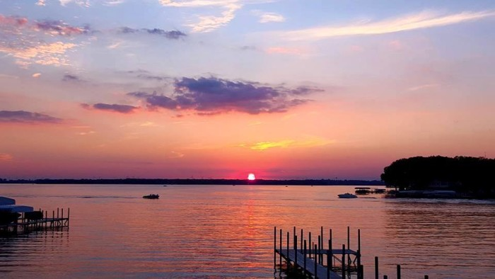 9. This perfectly pink sunset scene over West Okoboji looks too beautiful to be real.