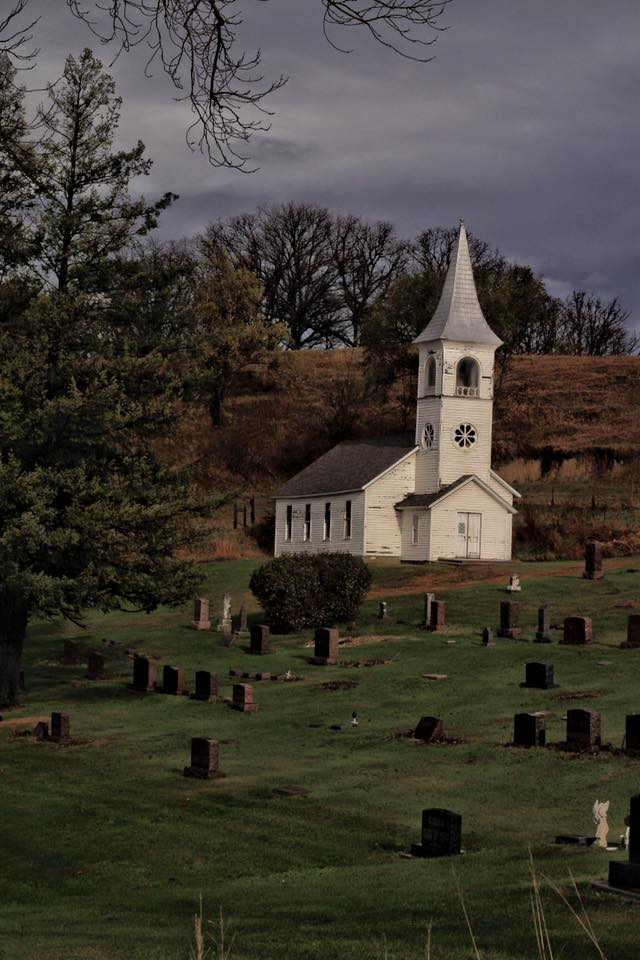 11. This somewhat perturbing, almost eerie photo of an old Danish church in western Iowa.