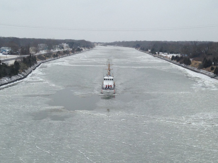 14. A Coast Guard cutter in the Cape May Canal.