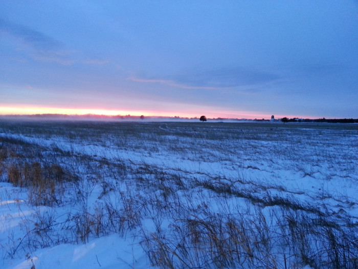 10. A frosty vista perfectly complements the delicate blush of the setting sun.
