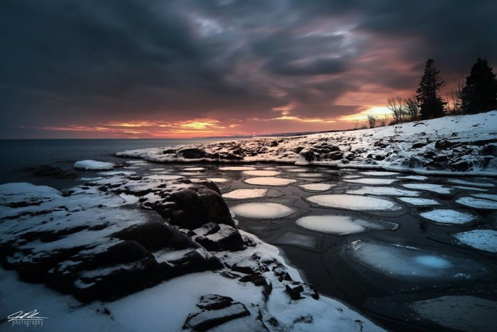 17. The pancake ice in Two Harbors looks dramatic under the sunset.