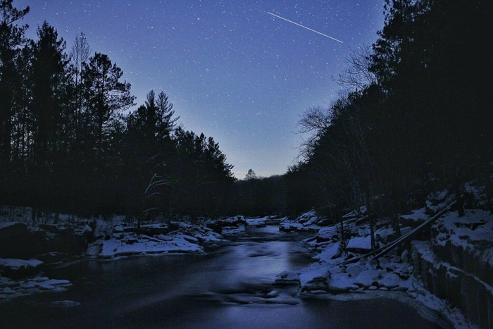 5.  Banning State Park has some of the best stargazing around. Look at the snow-covered river banks!