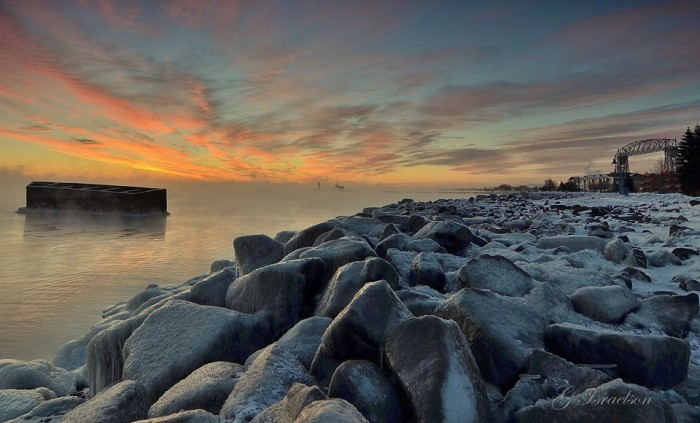Duluth's subzero sunrise is perfectly paired with the sea smoke, making it more magical.