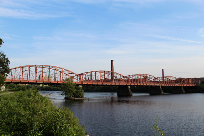 11. Aiken Street Bridge, Lowell. Built in 1882, The Aiken Street Bridge is the longest lenticular truss bridge surviving in the U.S. and is the only remaining one with more than three spans.