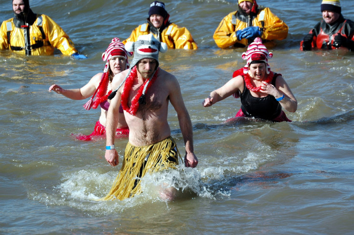 11. We raise money for charity by jumping into freezing water.