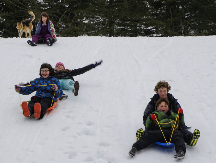2.  Sledding unsupervised was totally acceptable.