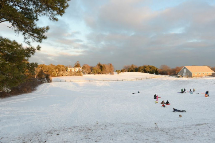 5. Sheriff's Meadow, Martha's Vineyard. If you're wintering on the Vineyard, head on over to Sheriff's Meadow for some prime sledding. There's a good mix of steeper areas and more gentle slopes for the little ones.
