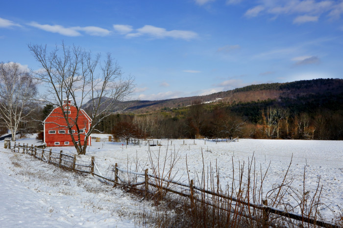 10. This barn in the Berkshires stands bright and cheery against the chilly winter landscape.