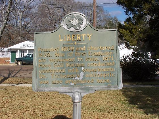 14. Liberty is the site of the first Confederate monument, where Borden's condensed milk was canned for the first time, and where the first bottle of Dr. Tichener's Antiseptic was produced.
