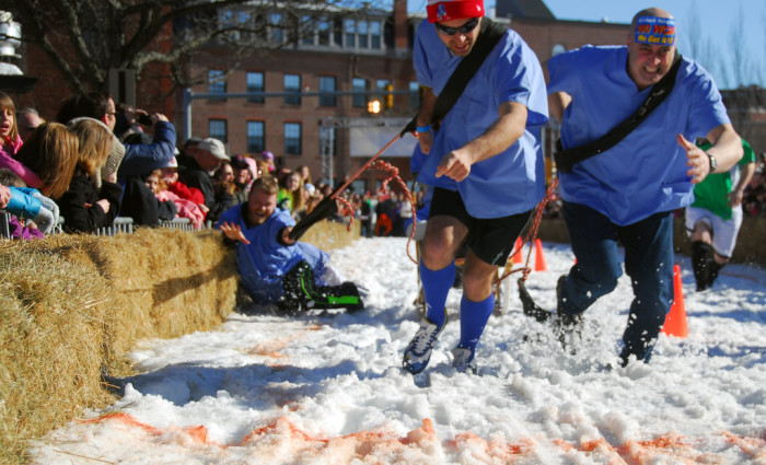 14. Human dog-sledding at Lowell Winterfest. This sort of counts, right? For those who want to level up their sledding experience.