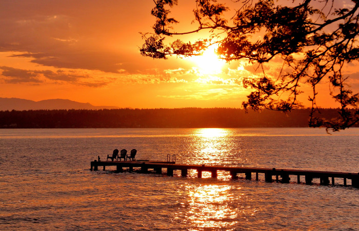 8. This fiery sunset was seen over Lake Washington.